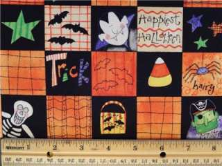 Halloween Fabric BTY Skeleton Star Candy Corn Spider Witch Monster Bat