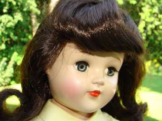 1949 Ideal Raven Brunette Toni Doll P 93 Tagged Yellow Dress