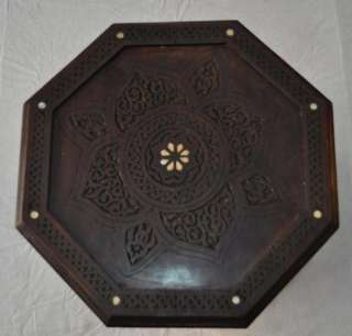 Syrian Hand carved Mother of Pearl Inlaid Wood Coffee Side Table
