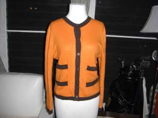 CHANEL 96A cashmere knit sweater cardigan Orange/ Brown 38/6
