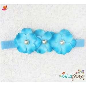 Pearl Centered (Turquoise)) Cute Triple Hydrangea Flowers on Headbands