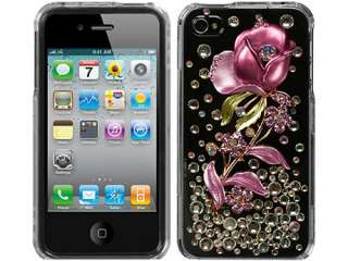 pink rose silver super bling rhinestone diamond crystal faceplate hard