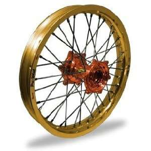 Pro Wheel Supermoto Front Wheel Set   17x3.50   Gold Rim/Orange Hub 26