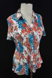 Fred David Blue/Red/Brown/Tan/White Floral Design Button Down Blouse