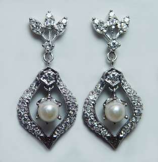 Antique Pearl 1ct Diamond Dangling Earrings 14K White Gold Estate