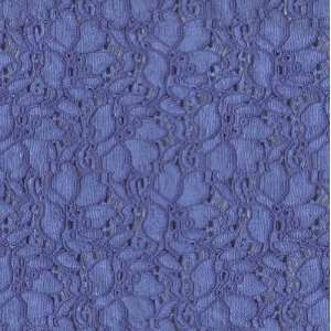54 Wide Stretch Lace Floral French Blue Fabric By The