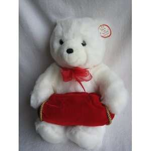 Gund 15 Plush White Teddy Bear with Red Gift Pouch