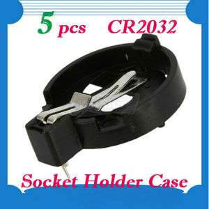 New Button Coin Cell Battery Socket Holder Case CR2032 Black