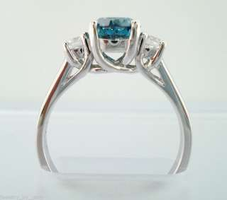 14K WG THREE STONE BLUE & WHITE DIAMOND ENGAGEMENT RING