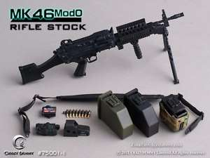 CRAZY DUMMY MK46 MOD0 Rifle Stock Machine Gun 1/6 Black