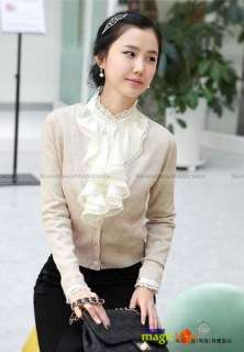 Women Fashion Long Sleeve Stand Collar Shirt Blouse Top Ruffle 3