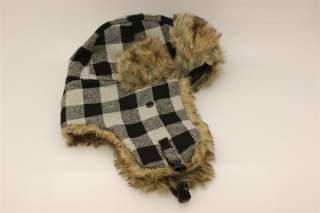 Black/ Gray Buffalo Plaid Bomber Aviator Trapper Trooper Ear Flap Fur