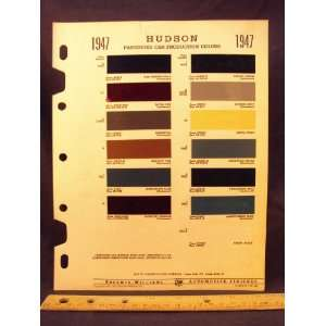1947 HUDSON Paint Colors Chip Page Hudson Motor Car Company