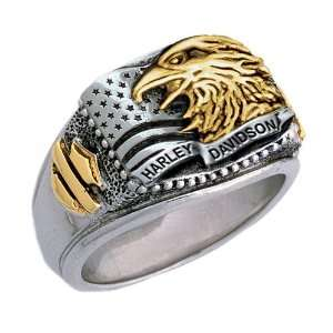 Sterling Silver Harley Davidson Mens Patriotic Ring Jewelry