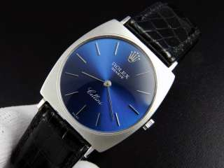Beautiful Mens ROLEX Cellini 18KWG Manual Winding Blue Dial Ref.3714