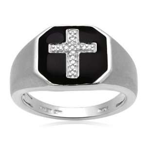 Mens Sterling Silver Enamel Cross Diamond Ring with Satin