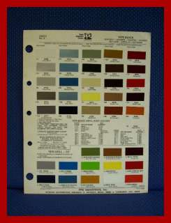 1975 BUICK Auto Paint Chip Colors Sheet   PPG Ditzler |