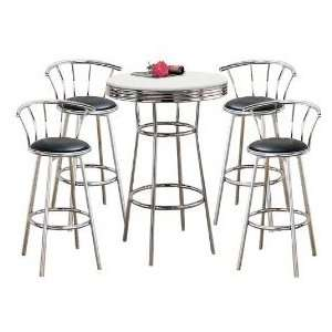 MAN CAVE Metal Bar Table with White Table Top & Pub Set with 4 Swivel