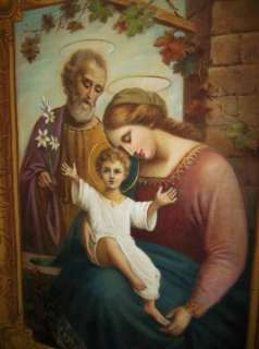 ANTIQUE OIL PAINTING TAPESTRY HOLY FAMILY VIRGIN MARY MADONNA CHILD