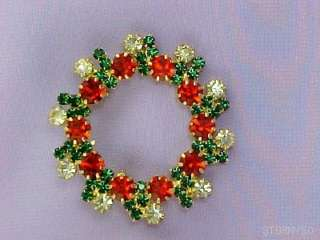 RHINESTONE CRYSTAL CHRISTMAS WREATH PIN BROOCH GORGEOUS