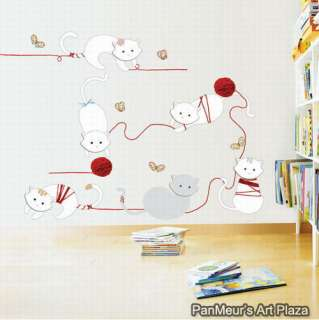 KR 33 Cats, Decal Self Adhesive Home Wall Art Sticker