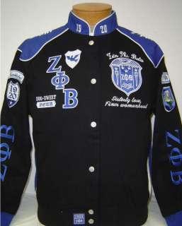 Black & Blue Zeta Phi Beta Sorority, Inc. Racing Style Jacket Womens