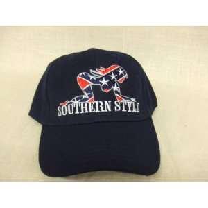 SOUTHERN STYLE Rebel Flag Hat Navy Dark Blue Baseball Cap