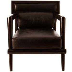BLACK TOP GRAIN LEATHER CHAIR, Solid Mahogany, MID CENTURY MODERN