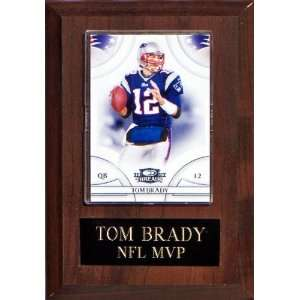 Tom Brady 4 1/2x 6 1/2 Cherry Finished Plaque: Sports