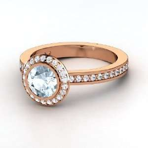 Roxanne Ring, Round Aquamarine 14K Rose Gold Ring with