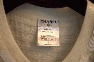 NEW CHANEL CASHMERE Sweater Jacket Cardigan CC Buttons Cream
