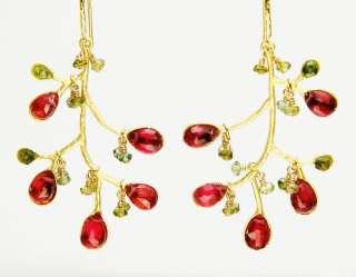20K GF Pink Tourmaline Green Tourmaline Branch Earrings