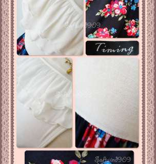 NEW Ivory/Navy Blue Ruffle Knit Top Contrast Floral Print Woven Skirt