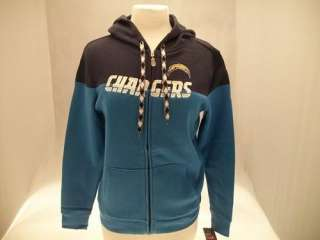 SAN DIEGO CHARGERS NFL FOOTBALL REEBOK LADIES FULL ZIP HOODY XL