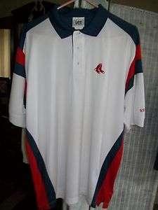 Boston Red Sox Lee Sport White Polo Short Sleeve MLB Shirt 100%