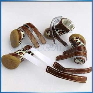 Chocolate Leopard Spots Leather Pet Dog Shoes Boots #1