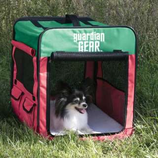 GUARDIAN GEAR COLLAPSIBLE DOG CRATE PINK & GREEN SMALL