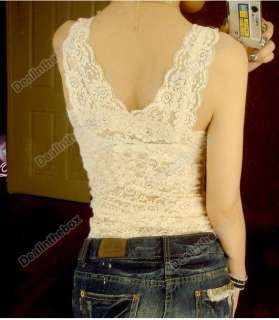 Womens V neck Vest Lace Tank Top Camisole Sleeveless T shirt 3 COLORS
