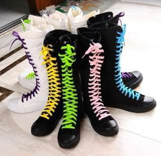 PUNK Gothic Black White Canvas boots sneakers knee high