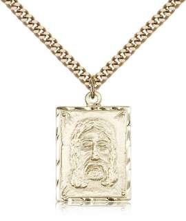 Gold Filled Holy Face Pendant Jesus Christ Medal Charm