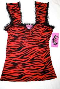DEMI LOON DIY Rockabilly Pinup Zebra Goth Vtg Red Sexy Lace Tank Top X