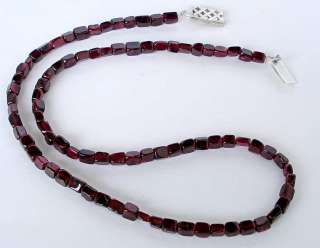 129cts SPARKLING MOZAMBIQUE RED GARNET BEAT BOX BEADS SILVER NECKLACE