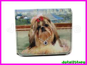SHIH TZU DOG SMALL WALLET MICROFIBER PURSE HANDBAG NWT
