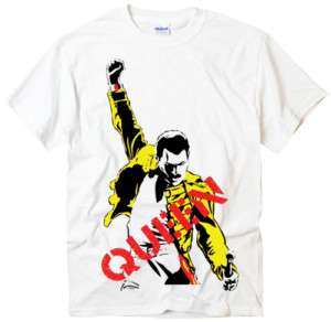 Queen Freddie Mercury Classic Rock Band white t shirt