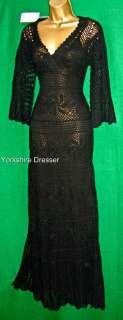 New MONSOON Black CLAUDIA CROCHET Knit Long Maxi DRESS   S M L (All