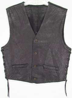 SICK ROCKER Vintage HEAVY PEBBLED LEATHER Motorcycle BIKER VEST M