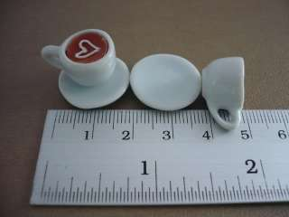 Cups of Cappuccino Heart Coffee Dollhouse Miniatures Food Supply