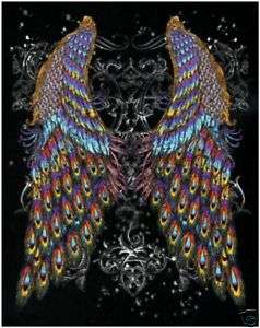 Peacock Wings Back Tattoo T Shirt S L XL & Big Sizes