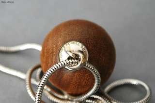 Authentic HERMES CLOUS DE SELLE Spherical Wood Ball Pendant Necklace w