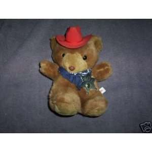 SHERIFF STUFFED BEAR WITH TEXAS BADGE & HAT ABOUT 9
